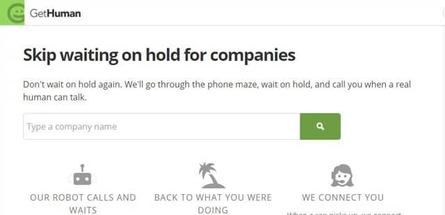 Screenshot of GetHuman's robo-call service