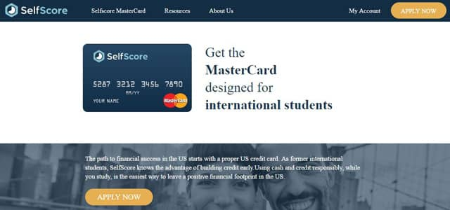 Screenshot of SelfScore's MasterCard page