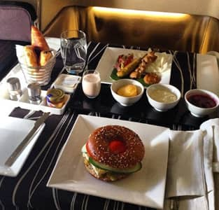 A meal Ben had on his plane trip in first-class