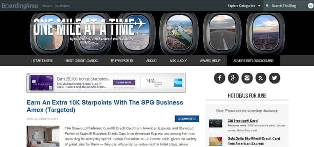 Screenshot of One Mile at a Time homepage