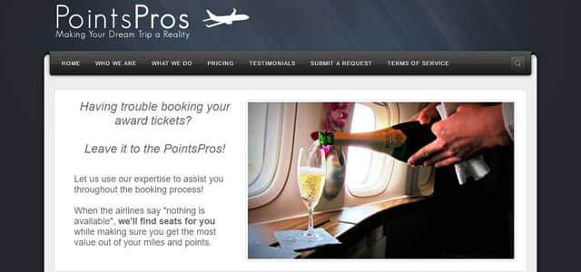 Screenshot of PointsPros website