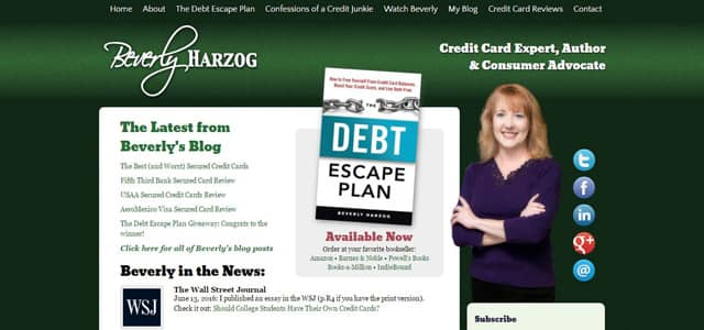 Screenshot of Beverly Harzog's website