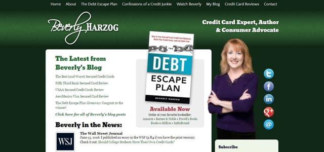 Screenshot of Beverly Harzog's website