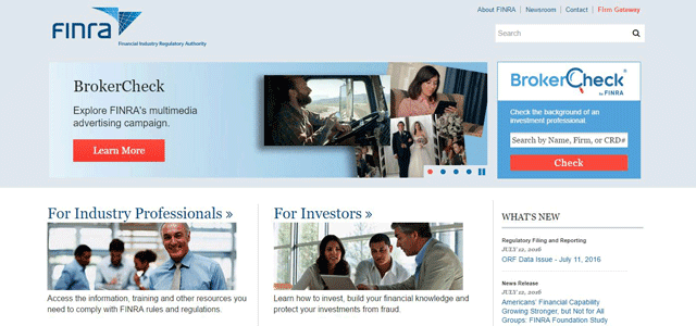 Screenshot of the FINRA homepage
