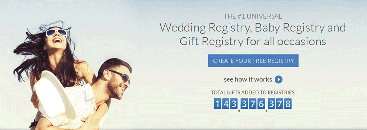 A screenshot of MyRegistry's homepage