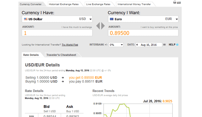 Screenshot of OANDA Currency Converter