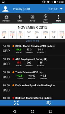 Screenshot of OANDA's fxTrade Mobile