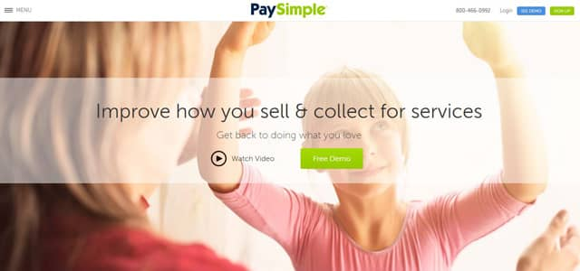 Screenshot of PaySimple's homepage
