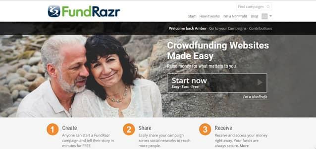Screenshot of FundRazr homepage