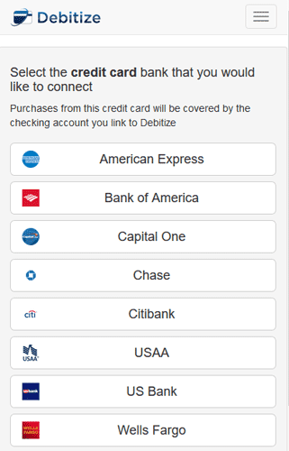 Screenshot of Debitize Add a Card