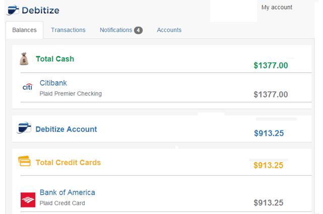 Screenshot of Debtiize Dashboard