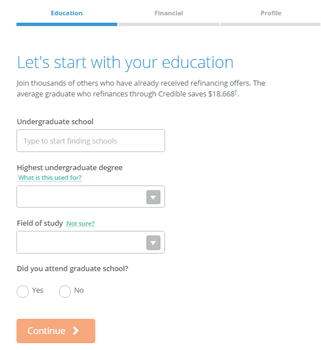 Screenshot of Credible Signup Form