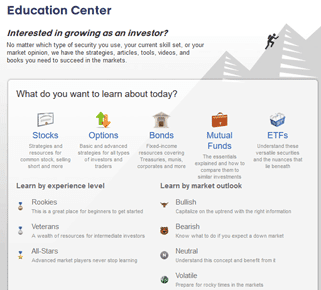 Screenshot of TradeKing Education Center