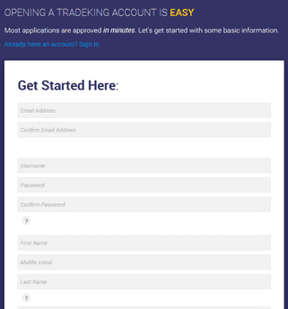 Screenshot of TradeKing Signup Form