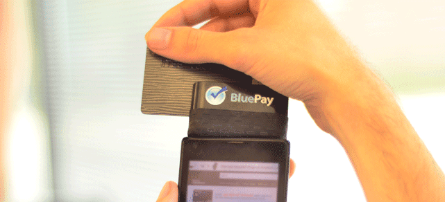Photo of a BluePay credit card reader