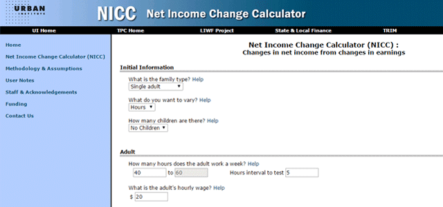 Screenshot of the Net Income Change Calculator