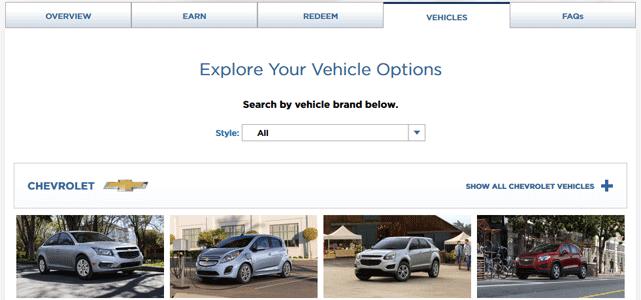 Screenshot of GM BuyPower Car Selection