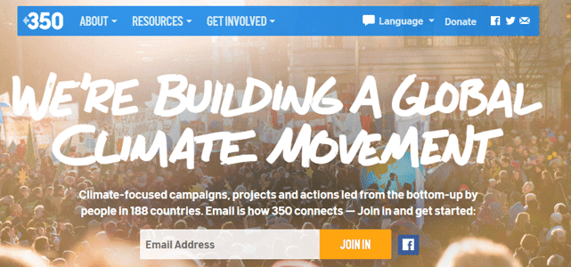 Screenshot of 350.org Homepage