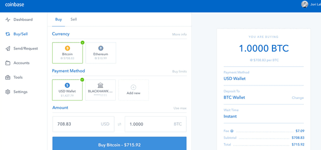 Screenshot of Coinbase Trade Page