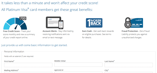 Screenshot of Credit One Preapproval Form