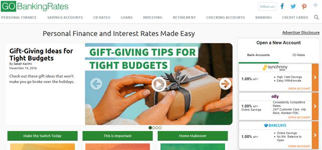 Screenshot of GOBankingRates Homepage