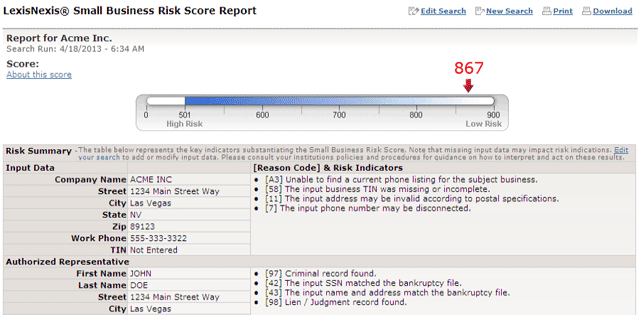 Screenshot of LexisNexis Small Business Risk Score