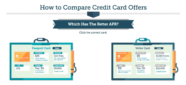 Screenshot of a credit card comparison question