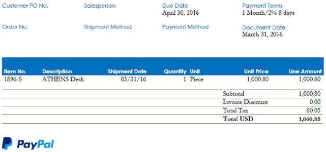Screenshot of an embedded PayPal link on an invoice