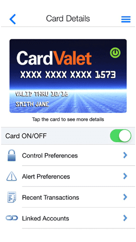 Screenshot of CardValet from Fiserv