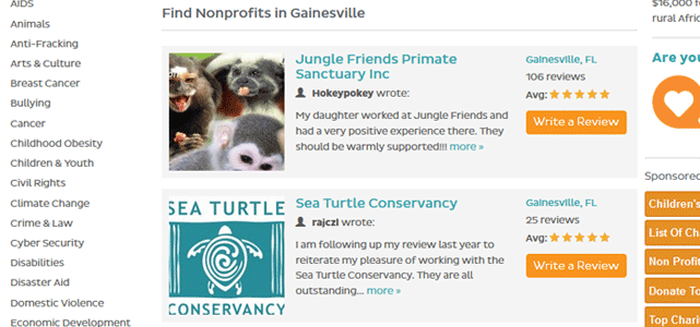 Screenshot of GreatNonprofits Reviews