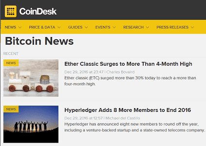 screenshot of coindesk news page