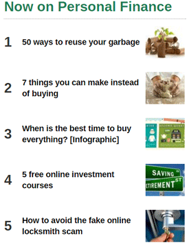 Screenshot of Personal Finance section articles