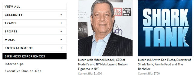 screenshot of charitybuzz business auctions