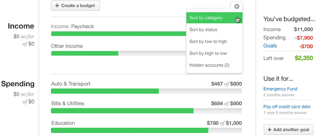 screenshot of mint budget function