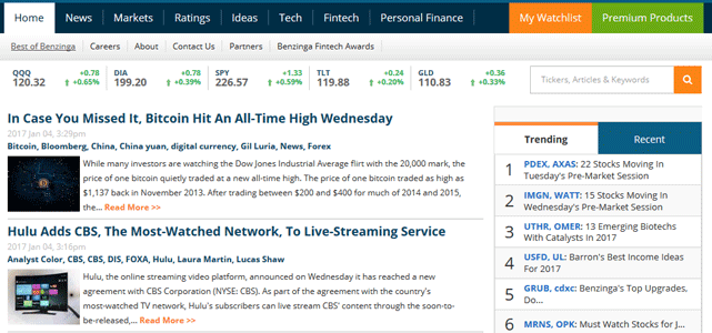 screenshot of benzinga homepage