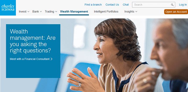 Screenshot of Charles Schwab Wealth Management Homepage