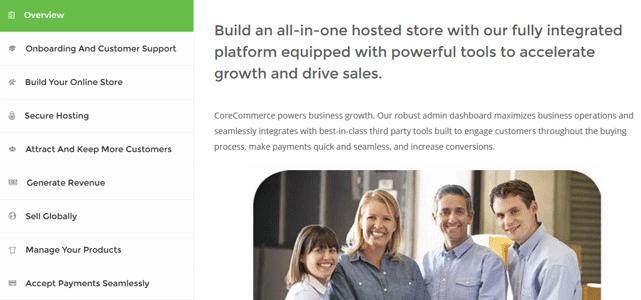 screenshot of corecommerce platform page