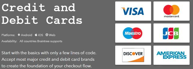 Screenshot of Braintree payment methods