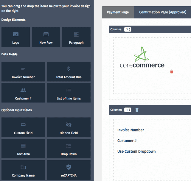 screenshot of corecommerce hpp builder