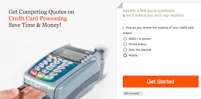 Screenshot of the Credit Card Processing Quote Calculator