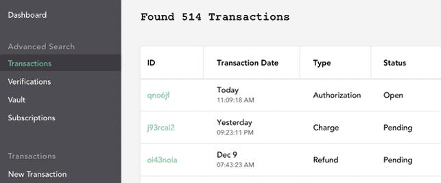 Screenshot of Braintree's user interface