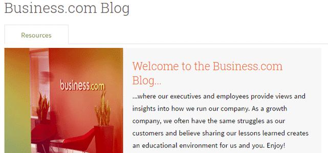 Screenshot of the Business.com Blog