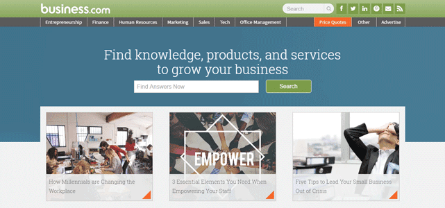 Screenshot of the Business.com homepage