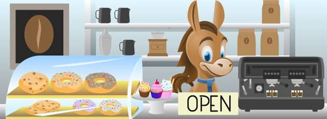 Cartoon of CreditDonkey mascot behind the counter of a small business