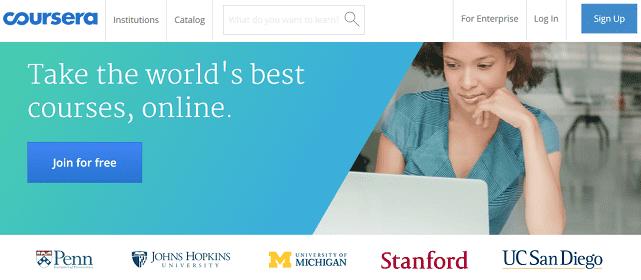Screenshot of Coursera Homepage