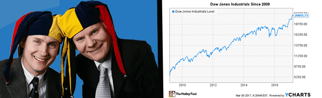 Photo of David and Tom Gardner and graph depicting Dow Jones industrials