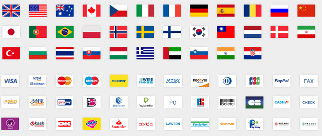 Collage of flags of countries and payment methods accepted by Avangate