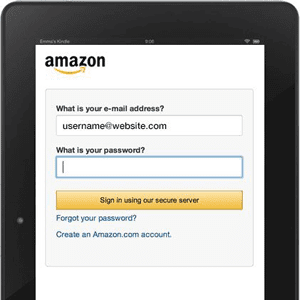 Screenshot of Amazon Login