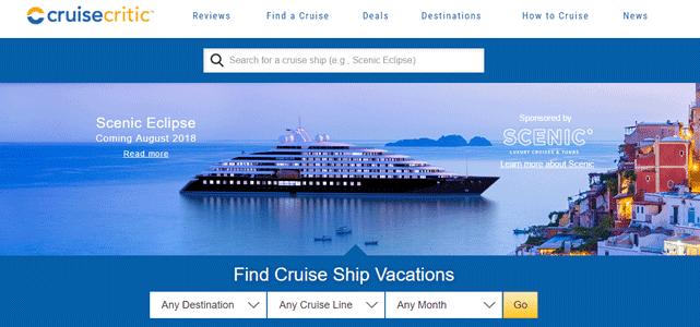 Screenshot of the Cruise Critic homepage
