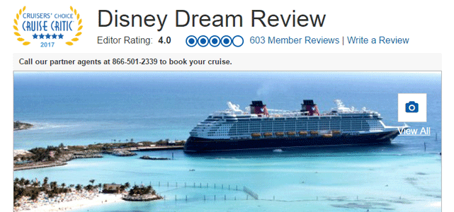 Screenshot of a Cruise Critic review of the Disney Dream